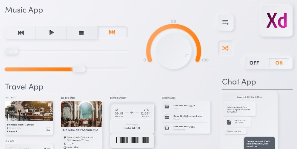 Free Neomorphic UI Kit for Adobe Xd