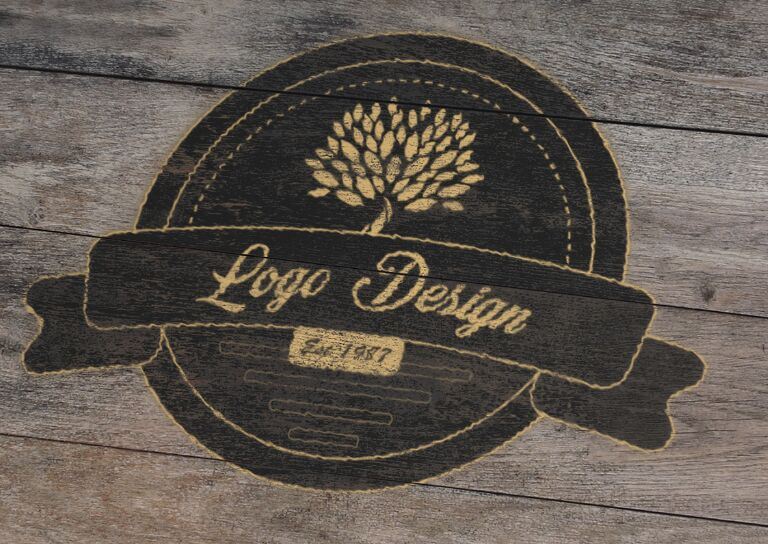 Vector Wood Logo Mockup