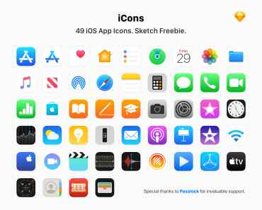 iOS App Vector Icons Pack For Sketch App