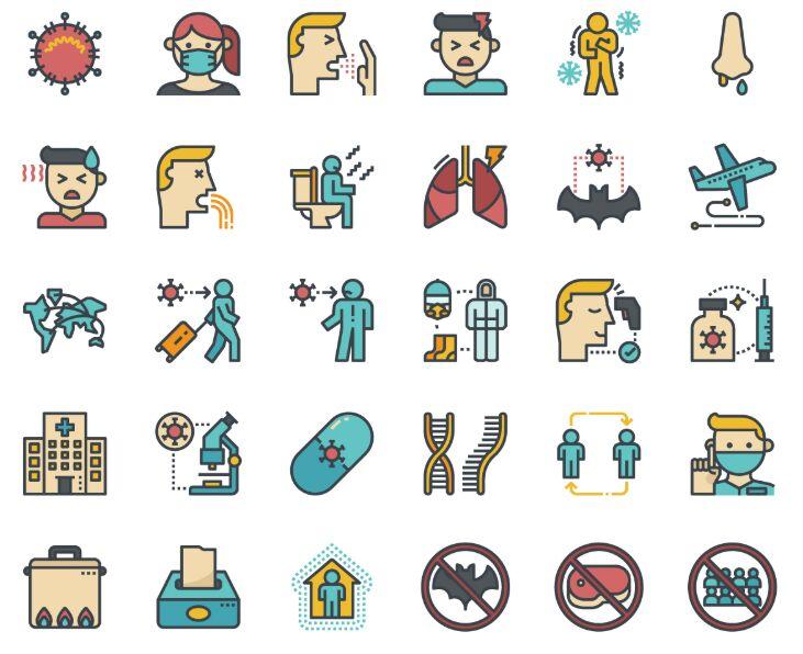 36 Coronavirus Icons