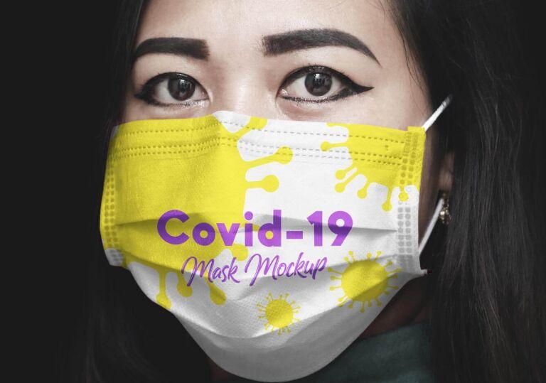 Coronavirus (Covid-19) Medical Face Mask Mockup PSD