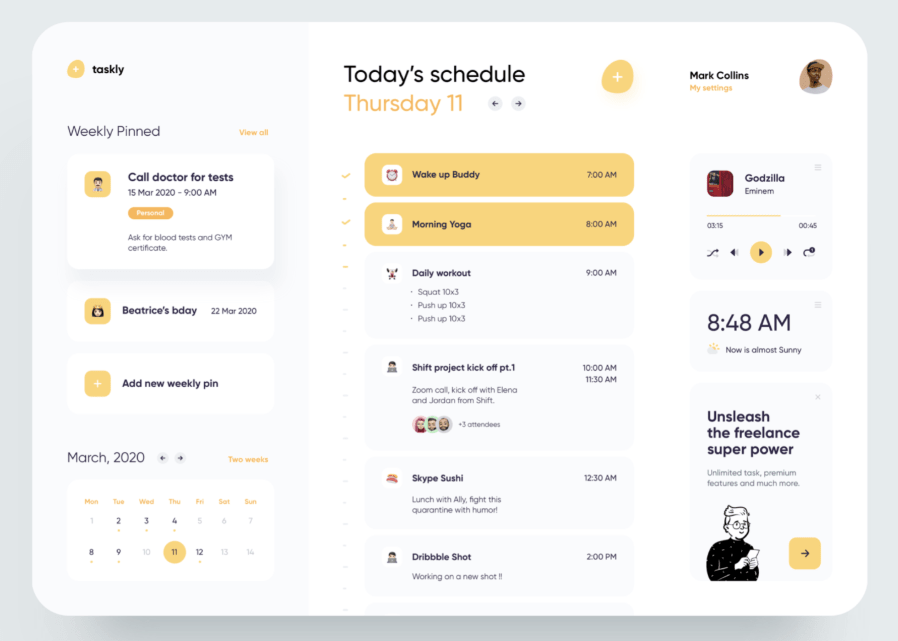 Freelancer Schedule Web Template