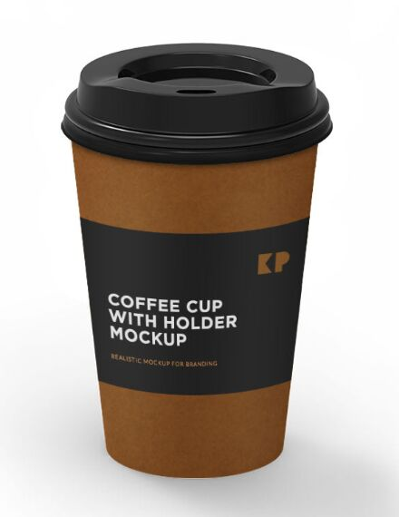Coffee Cup With Holder PSD Mockup