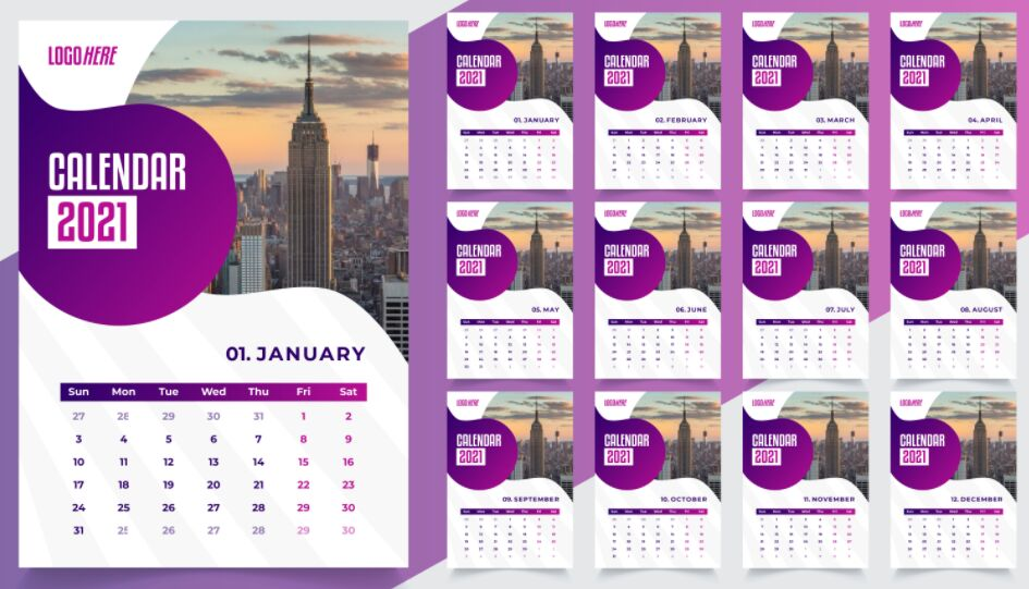 Desk Calendar Template Design 2021 Free Download