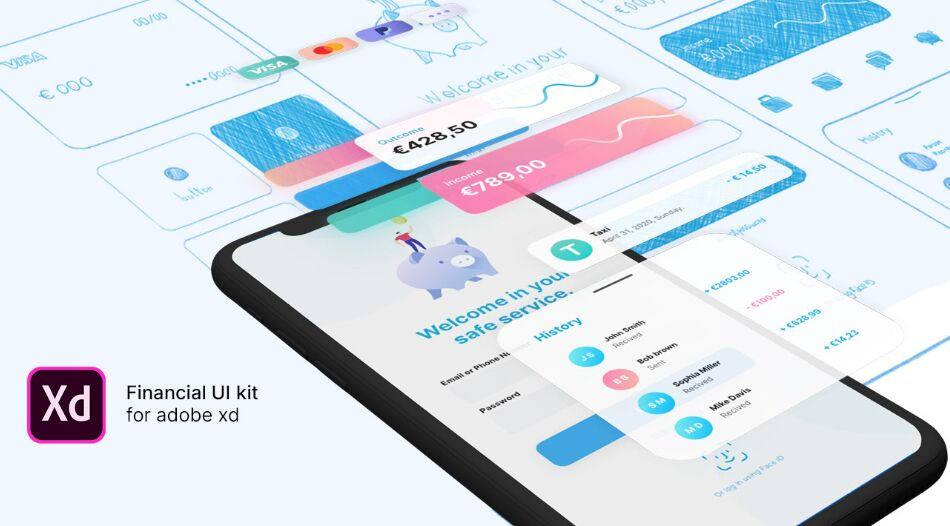 Free Financial UI Kit for Adobe XD
