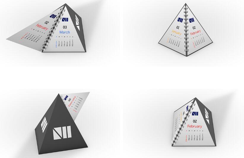Pyramid Calendar Mockup PSD