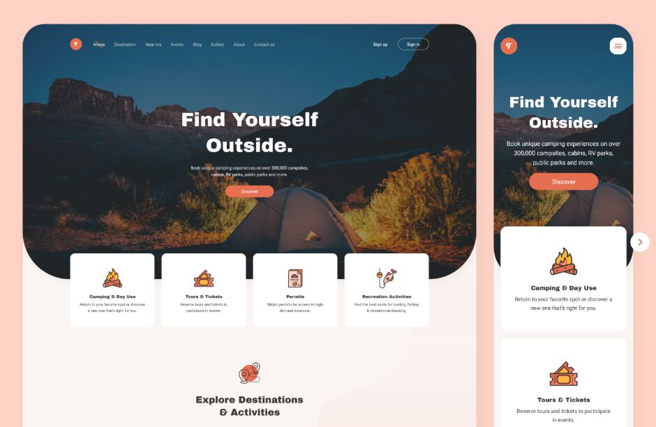 Camping Website Template For XD