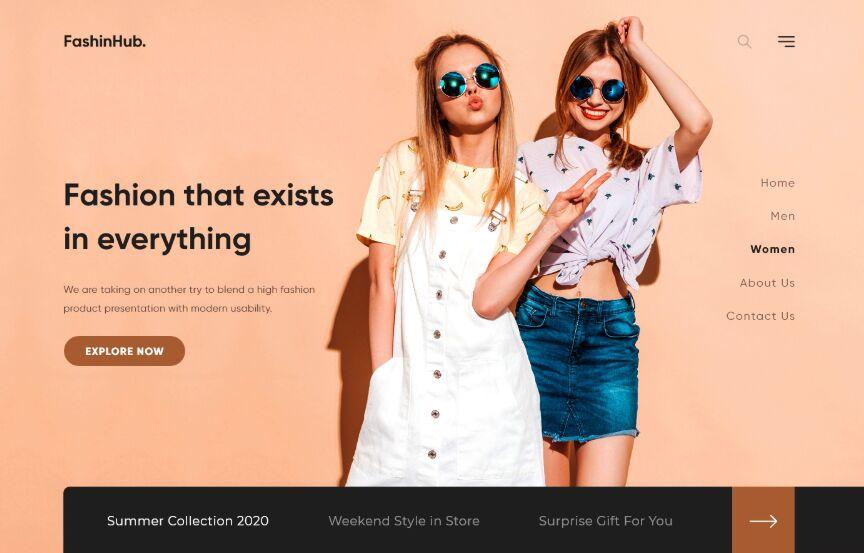 Fashion Web Design Free Xd