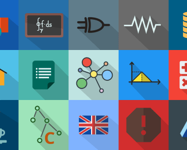 Flat Long Shadow Engineering Icons (PNG & SVG)