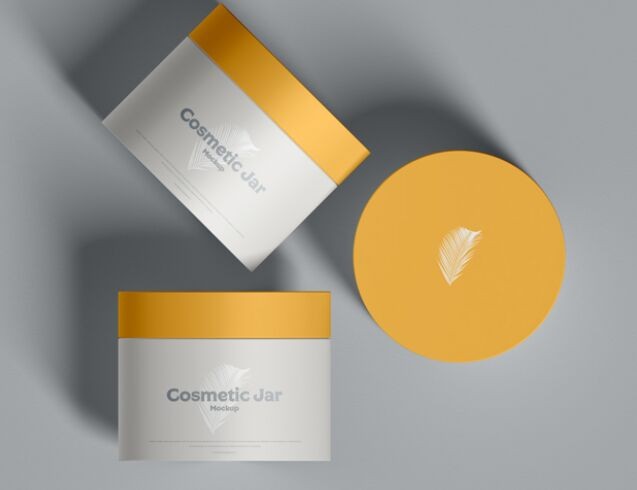 Free Brand Cosmetic Jars Mockup