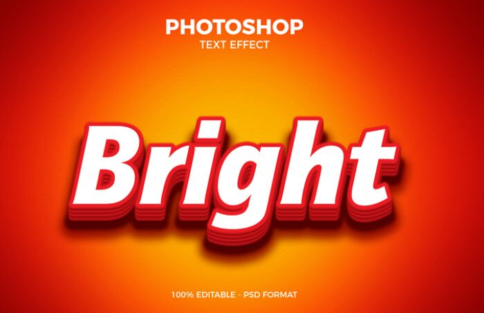 Free Bright Photoshop Text Effect