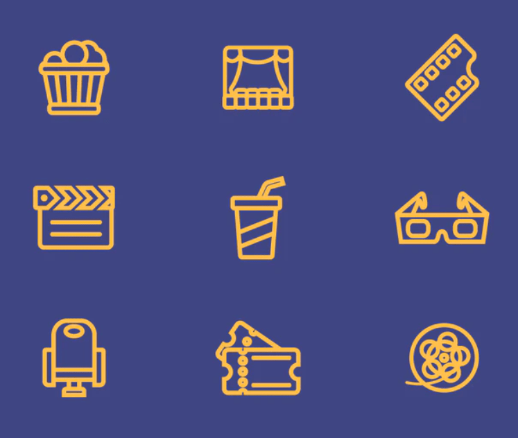 Movie Line Vector Icons