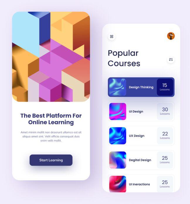 Online Learning Mobile App Design