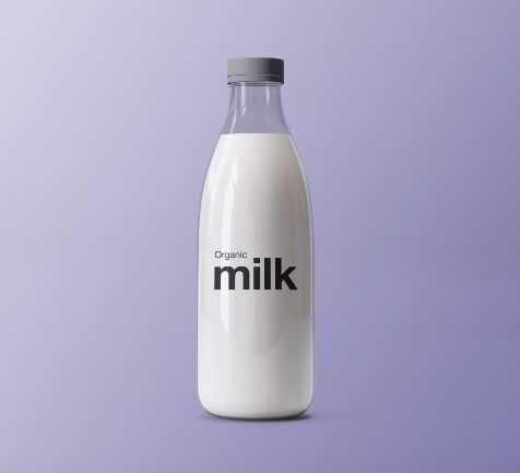 Realistic Front View Milk Bottle Mockup