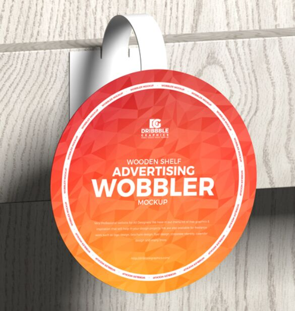 Wooden Shelf Advertising Wobbler Mockup