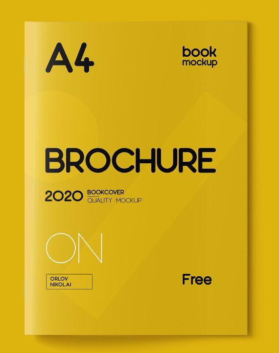 A4 Brochure & Book Cover Mockup