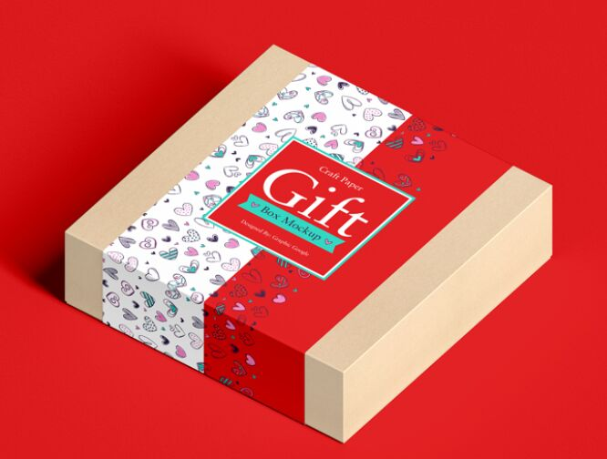 Craft Paper Square Gift Box Mockup