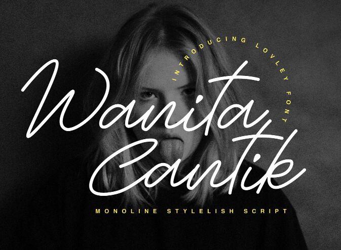 Wanita Cantik Monoline Script Font