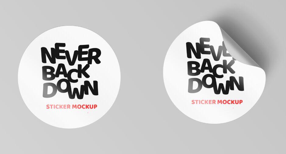 Curl Edged Sticker Mockups