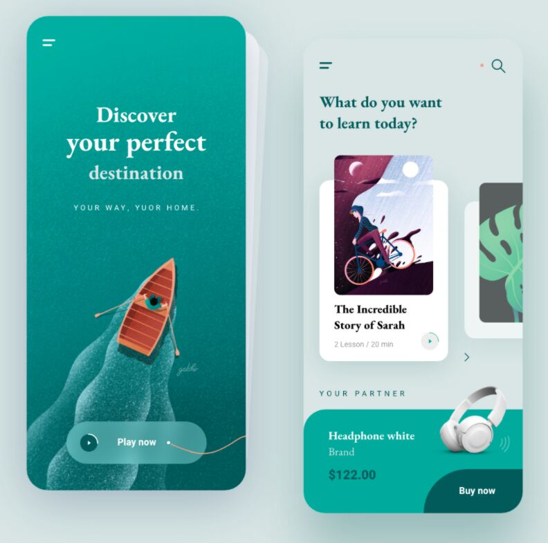 Discover and Listen Mobile App Design