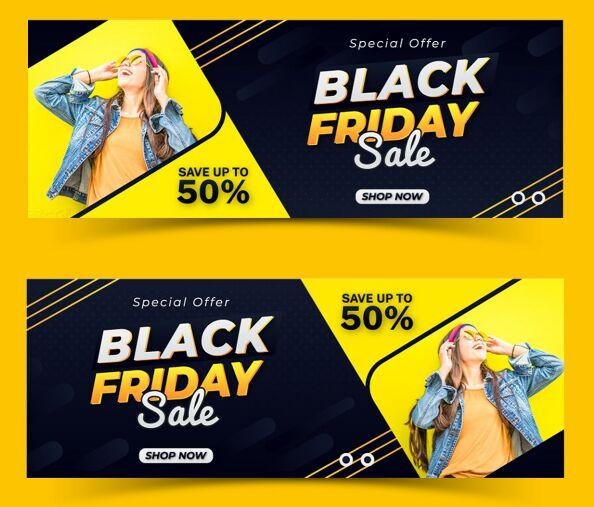 Black Friday Facebook Cover Design Set