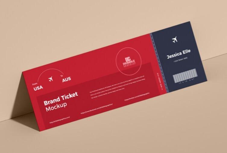 Free Brand Ticket Mockup PSD