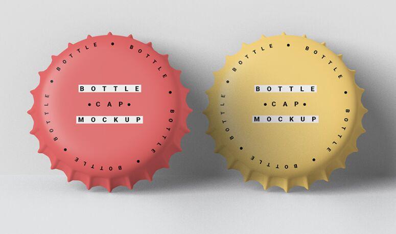 Free Two Bottle Cap Mockup