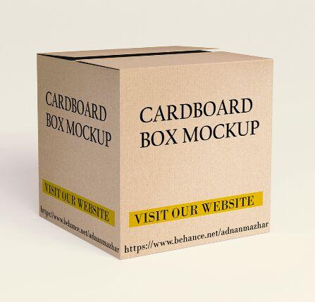 Square Cardboard Box Mockup Design