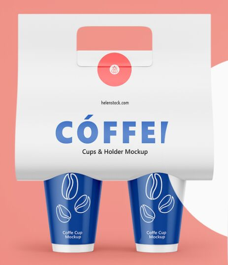 Coffee Cups and Holder Mockup