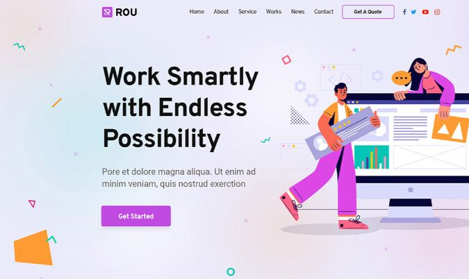 Rou Startup & Agency Landing Page PSD Free Download