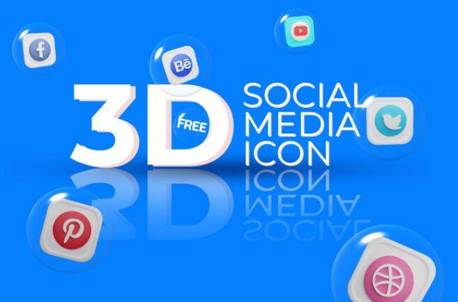 Social Media 3D Icons Set