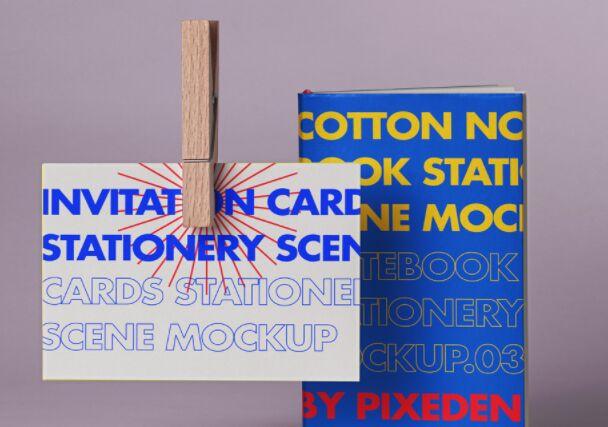 Psd Notebook Card Mockup Scene