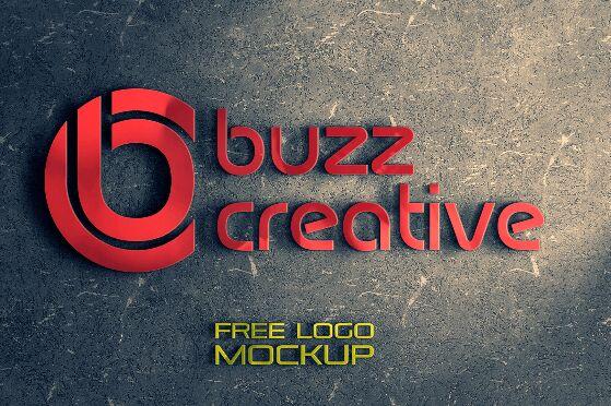3D Wall Logo Mockup Free