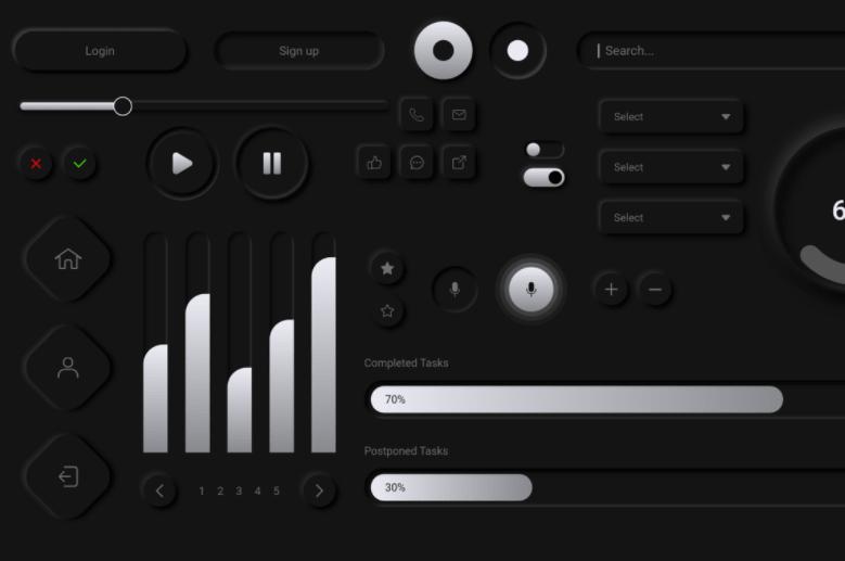 Dark Neumorphism UI Kit Adobe XD