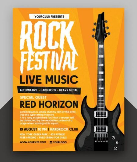 Free Rock Festival Flyer PSD Template