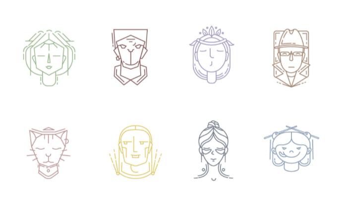 8 Face logo Icons Vector
