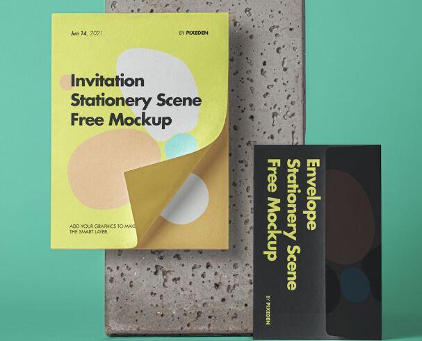 Invitation Stationery Mockup Scene