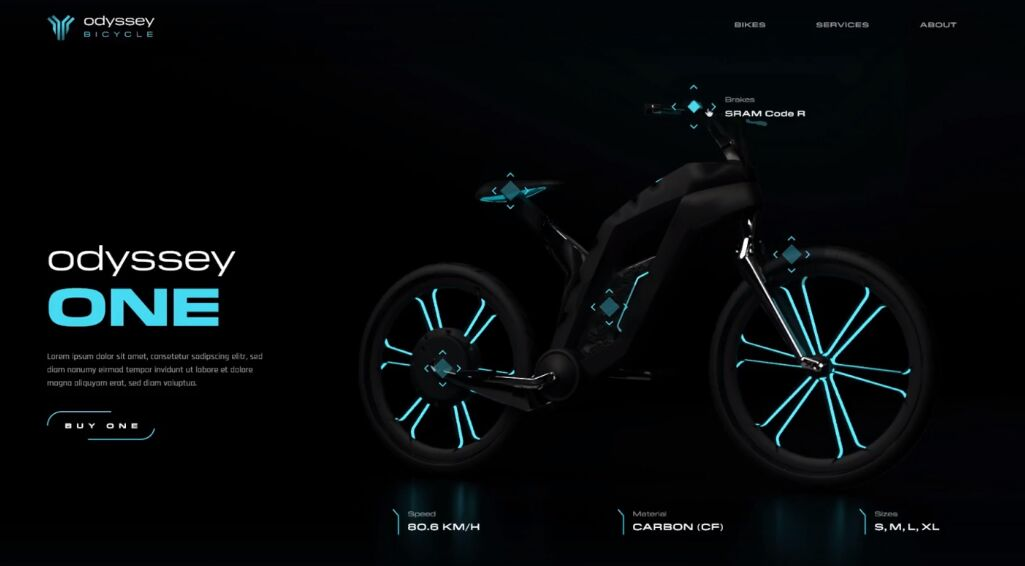 Odyssey Bicycle Landing Page Adobe XD Template