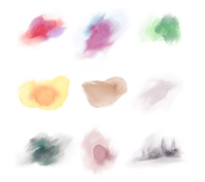 Watercolor Abstract Smudge Shapes