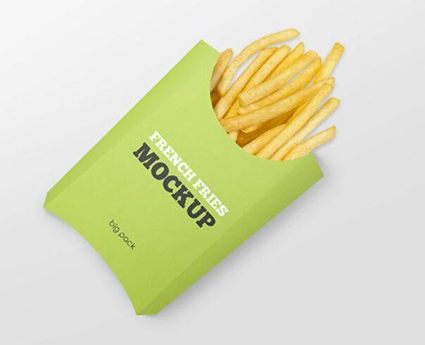 Free Paper French Fries Box Mockup