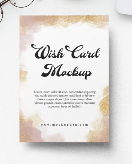 Free Wish Card Mockup PSD Template