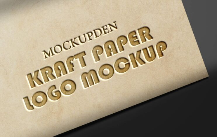 Free kraft Paper Logo Mockup PSD Template