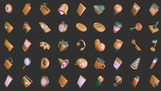 3D Sleek Illustration Pack Amber Style
