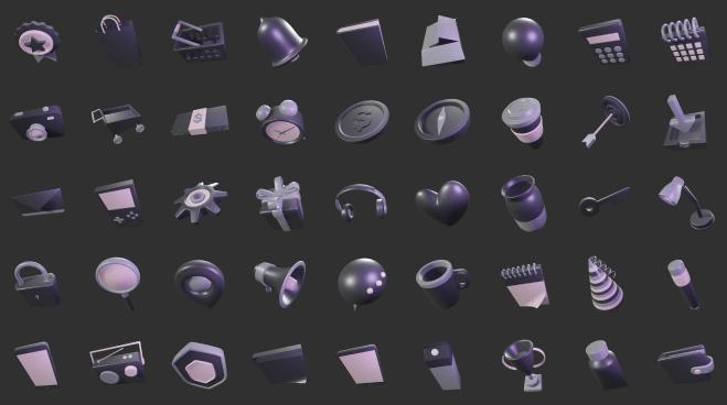 3D Sleek Illustration Pack Slate Style