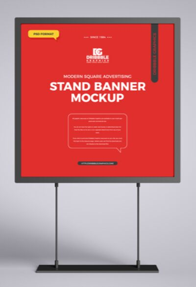 Free Modern Square Advertising Stand Banner Mockup