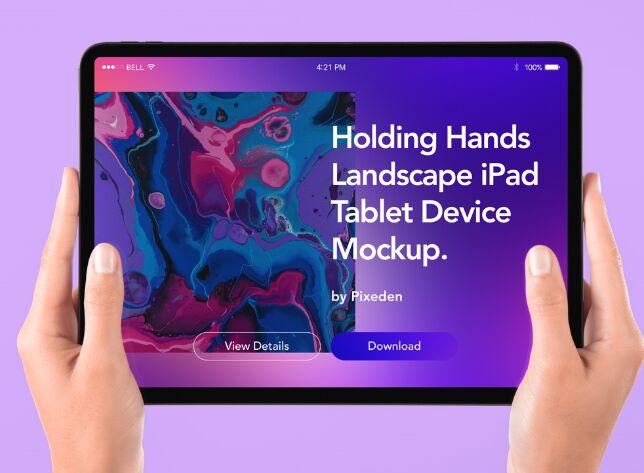 Hand Holding Tablet iPad Psd Mockup