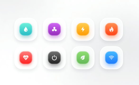 3D Colorful Main Action Buttons