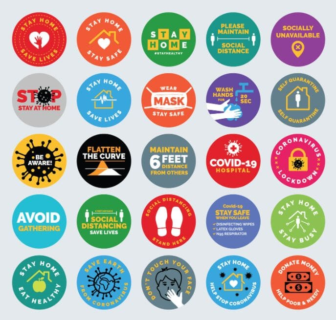 Free Covid-19 Signs, Symbols, Badges, Icons & Stickers