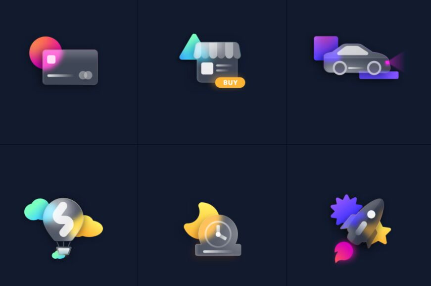 Frosted Glass Icons Figma