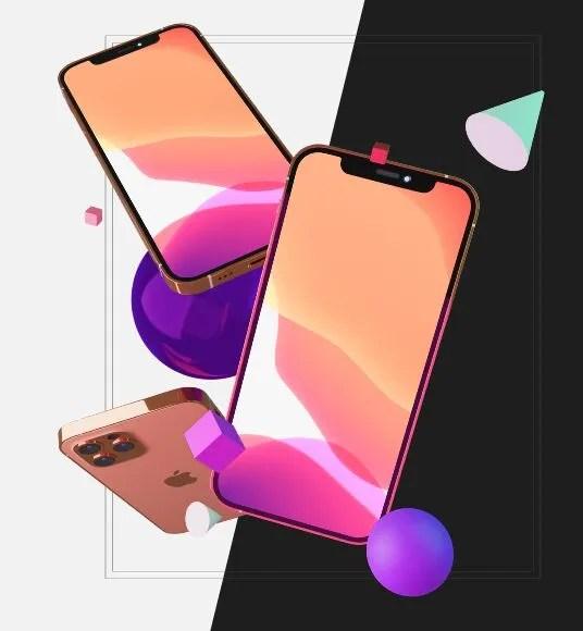 Gold Gray Mockup iPhone 13 Mockup